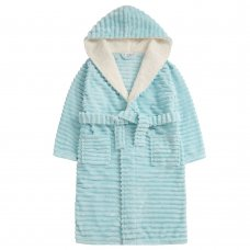 18C668: Older Girls Jacquard Mint Dressing Gown With Borg Trim (7-13 Years)