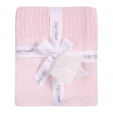 19C214: Baby Pink Heavy Knit Cellular Panel Blanket (70 x 110 CM)