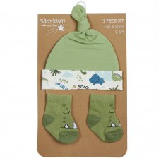 19C220: Baby Boys Novelty Dinosaur Hat & Socks Set (0-6 Months)