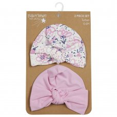 19C221: Baby Girls 2 Piece Turban Hat Set (0-6 Months)