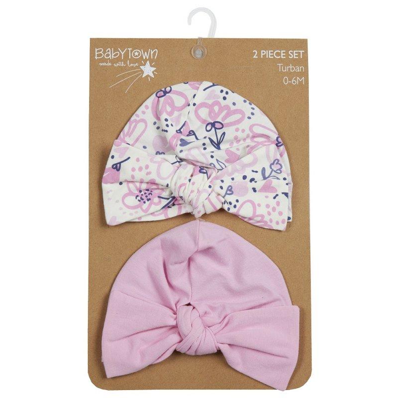 19C221: Baby Girls 2 Piece Turban Hat Set (0-6 Months)