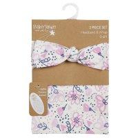 19C222: Baby Girls Floral Headband & Wrap Set (0-6 Months)