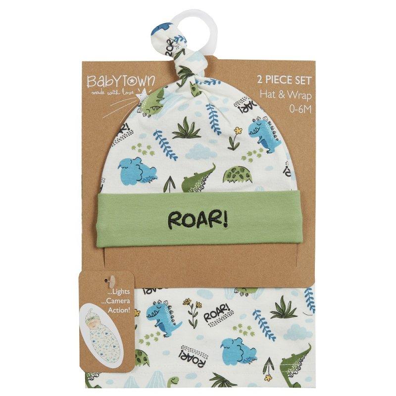 19C223: Baby Dinosaur Print Hat & Wrap Set (0-6 Months)