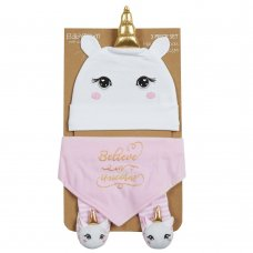 19C224: Baby Girls Novelty Unicorn Hat, Bib & Socks Set (0-6 Months)