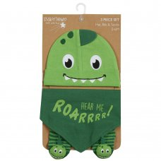 19C225: Baby Boys Novelty Dinosaur Hat, Bib & Socks Set (0-6 Months)