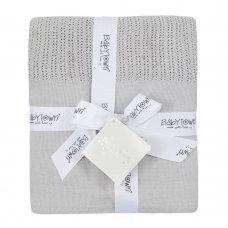19C227: Baby Grey Heavy Knit Cellular Panel Blanket (70 x 110 CM)