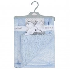 19C229: Baby Luxury Plush Blanket With Sherpa Back- Sky