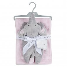 19C230: Baby Luxury Plush Blanket With Elephant Toy- Pink