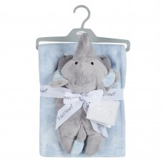 19C231: Baby Luxury Plush Blanket With Elephant Toy- Sky