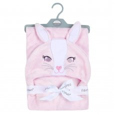 19C232: Baby Novelty Plush Bunny Hooded Wrap