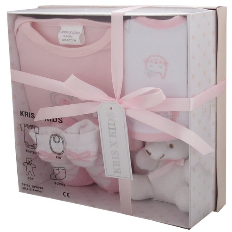 3195P: Pink 4 Piece Luxury Boxed Gift Set (0-3 Months)