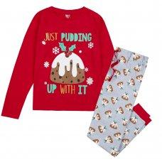 34B1675: Ladies Christmas Pudding Family Pyjama (S-XL)
