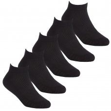 42B714: Kids 5 Pack Sport Trainer Liner Socks- Black (Assorted Sizes)