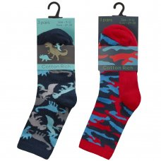 42B730: Boys 3 Pack Cotton Rich Design Ankle Socks (Assorted Sizes)