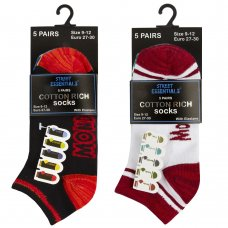 42B637: Kids 5 Pack Monday To Friday Trainer Liner Socks