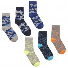 42B648: Boys 3 Pack Cotton Rich Design Ankle Socks (Assorted Sizes)