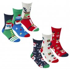 42B664: Kids 3 Pack Christmas Cotton Rich Design Ankle Socks (Assorted Sizes)