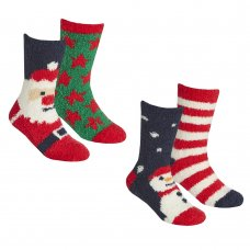 42B665: KIDS 2 Pack Christmas Cosy Socks With Grippers
