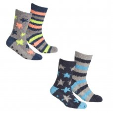 42B666: Boys 2 Pack Cosy Socks With Grippers