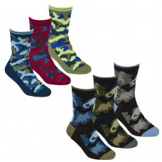 42B675: Boys 3 Pack Cotton Rich Design Ankle Socks (Assorted Sizes)