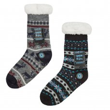 42B680: Boys Fairisle Lounge Socks With Grippers