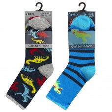 42B687: Boys 3 Pack Cotton Rich Design Ankle Socks (Assorted Sizes)