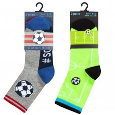 42B691: Boys 3 Pack Cotton Rich Design Ankle Socks (Assorted Sizes)