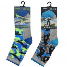 42B695: Boys 3 Pack Cotton Rich Design Ankle Socks (Assorted Sizes)