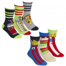 42B699: Boys 3 Pack Cotton Rich Design Ankle Socks (Assorted Sizes)