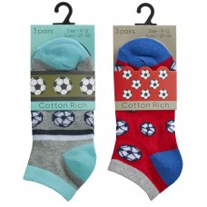 42B703: Boys 3 Pair Design Trainer Liner Socks (Assorted Sizes)