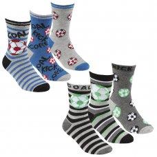 42B708: Boys 3 Pack Bamboo Design Ankle Socks (Assorted Sizes)