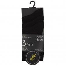42B710: Kids 3 Pack Bamboo Plain Socks- Black (Assorted Sizes)