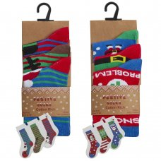 42B727: Kids 3 Pack Christmas Cotton Rich Design Ankle Socks (Assorted Sizes)