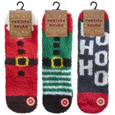 42B728: Kids 1 Pair Christmas Cosy Socks With Grippers