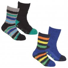 42B729: Boys 2 Pack Cosy Socks With Grippers