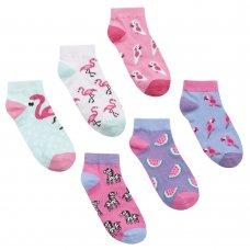 43B636: Girls 3 Pack Design Trainer Liner Socks