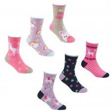 43B638: Girls 3 Pack Cotton Rich Unicorn Design Ankle Socks (Assorted Sizes)
