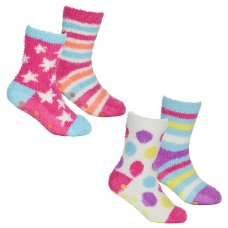 43B649: Girls 2 Pack Cosy Socks With Grippers