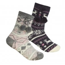 43B662: Girls Fairisle Lounge Socks With Grippers