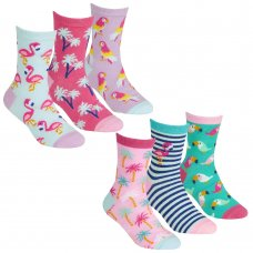 43B672: Girls 3 Pack Cotton Rich Design Ankle Socks (Assorted Sizes)