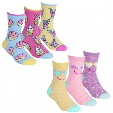 43B684: Girls 3 Pack Cotton Rich Design Ankle Socks (Assorted Sizes)