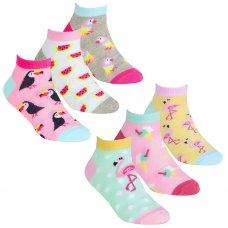 43B688: Girls 3 Pair Design Trainer Liner Socks (Assorted Sizes)