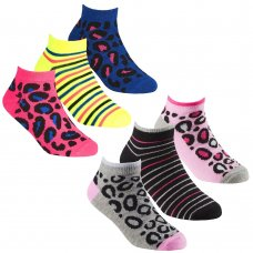 43B689: Girls 3 Pair Design Trainer Liner Socks (Assorted Sizes)