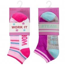 43B690: Girls 3 Pair Design Trainer Liner Socks (Assorted Sizes)