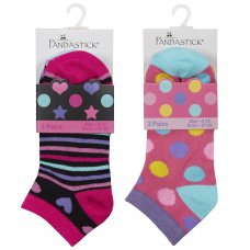 43B694: Girls 3 Pack Bamboo Trainer Liner Socks (Assorted Sizes)