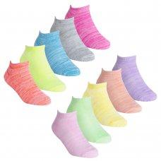 43B700: Girls 5 Pair Sport Trainer Liner Socks (Assorted Sizes)