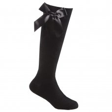 43B704: Girls 1 Pair Knee High Socks With Bow-Black