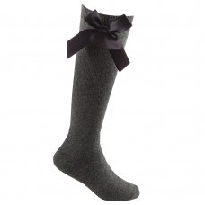43B705: Girls 1 Pair Knee High Socks With Bow-Grey