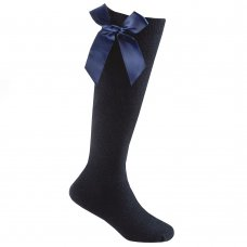43B707: Girls 1 Pair Knee High Socks With Bow-Navy