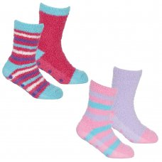 43B730: Girls 2 Pack Cosy Socks With Grippers